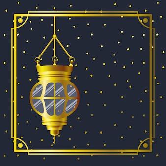 Cornice dorata di ramadan kareem con lampada appesa
