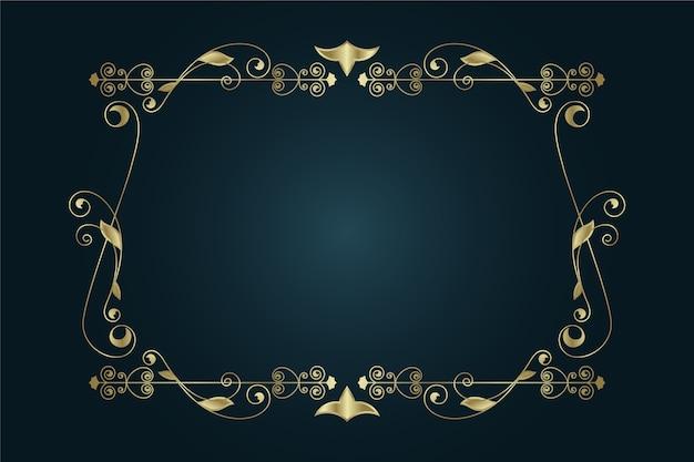 Cornice dorata elegante bordo ornamentale
