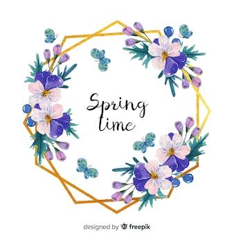 Cornice dorata floreale di primavera dell'acquerello