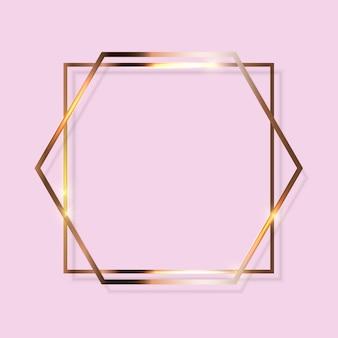 Cornice dorata glitterata con texture su trasparente. illustrazione