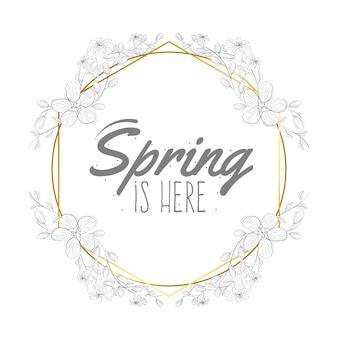 Cornice dorata rotonda primavera disegnata a mano con fiori