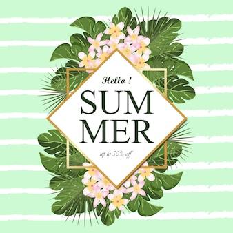 Cornice estate multiuso con fogliame tropicale e priorità bassa linea astratta