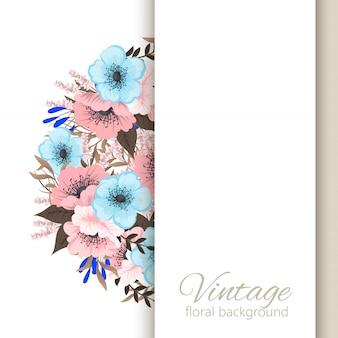 Cornice fiore fiori azzurro e rosa