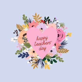 Cornice floreale a forma di cuore. biglietto di auguri per la giornata mondiale degli insegnanti.