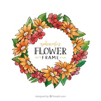 Cornice floreale ad acquerello con disegno circolare