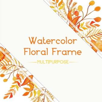 Cornice floreale arancione acquerello