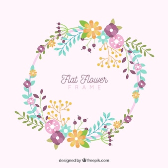 Cornice floreale circolare con disegno piatto