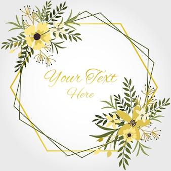 Cornice floreale con fiori gialli, foglie e rami in sfondo bianco.