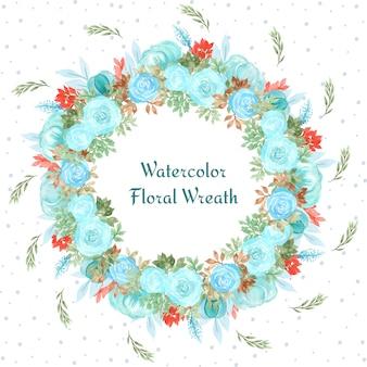 Cornice floreale con splendidi fiori ad acquerelli