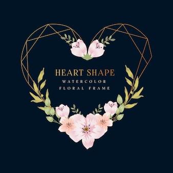 Cornice floreale dell'acquerello a forma di cuore blu navy