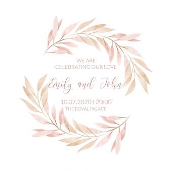 Cornice floreale dell'acquerello. carta di invito a nozze