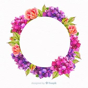 Cornice floreale dell'acquerello con banner bianco