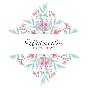 Cornice floreale dell'acquerello con fiori di ciliegio