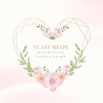 Cornice floreale dell'acquerello di bella forma cuore