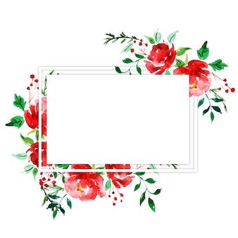 Cornice floreale dell'acquerello merry christmas