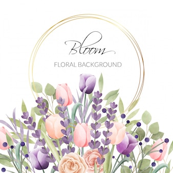 Cornice floreale dell'acquerello. sfondo multiuso.
