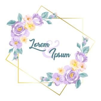 Cornice floreale dell'acquerello viola per la decorazione