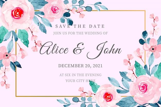 Cornice floreale di nozze con carta acquerello