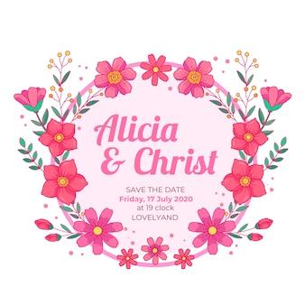 Cornice floreale di nozze salva i fiori rosa data