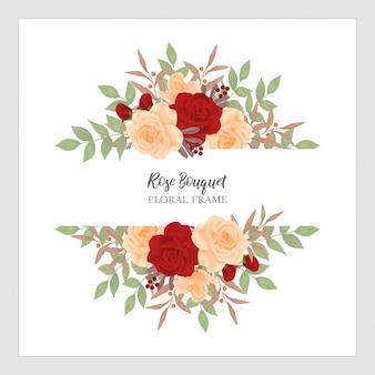 Cornice floreale di rose bouquet
