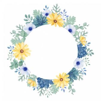 Cornice floreale dipinta a mano ad acquerello