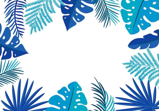 Cornice floreale foglie tropicali palma con posto per il testo.