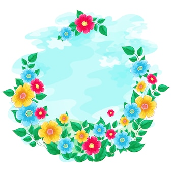 Cornice floreale ghirlanda di cielo azzurro dell'acquerello