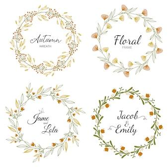 Cornice floreale impostata per il matrimonio