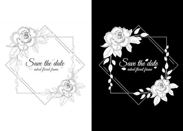 Cornice floreale in bianco e nero con rose