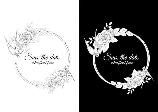 Cornice floreale in bianco e nero inchiostrata con rondini e rose