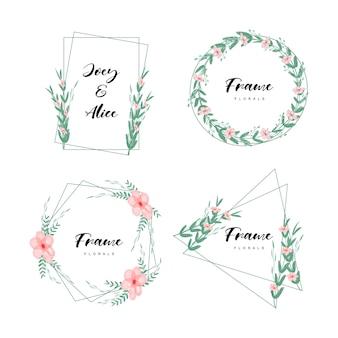 Cornice floreale minimalista con stile acquerello
