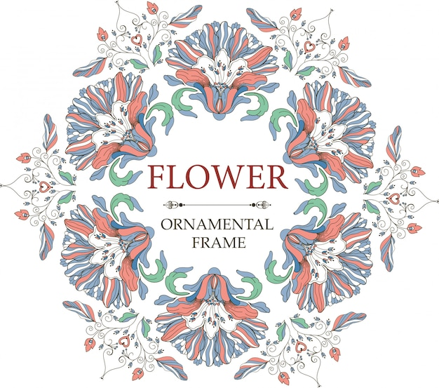 Cornice floreale ornamentale in stile vintage. ornamento circolare