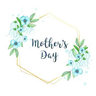 Cornice floreale per la festa della mamma dell'acquerello