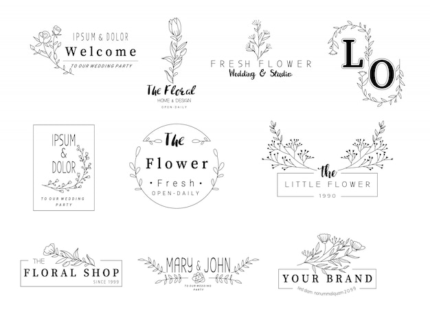 Cornice floreale per matrimonio, negozio di fiori, stile disegnato a mano