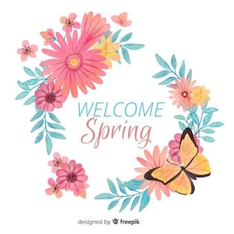 Cornice floreale primavera acquerello