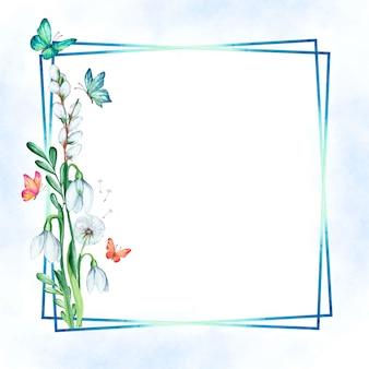 Cornice floreale primavera dell'acquerello con farfalle
