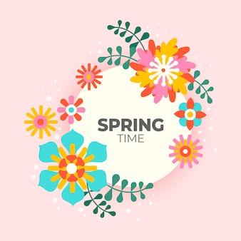 Cornice floreale primavera design piatto