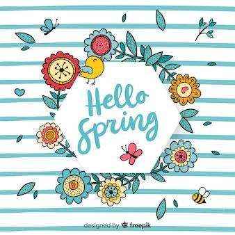 Cornice floreale primavera disegnata a mano