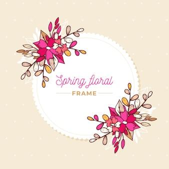 Cornice floreale primavera rosa sfumato disegnato a mano