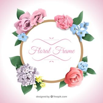 Cornice floreale realistica con stile elegante