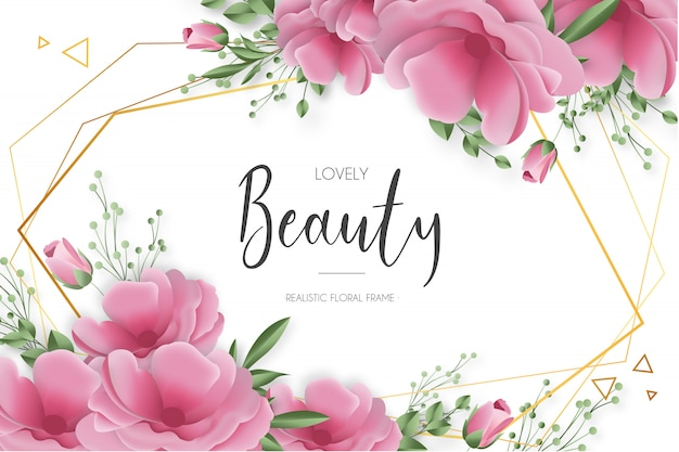 Cornice floreale realistica di bellezza