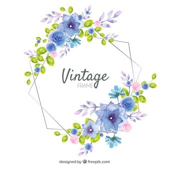 Cornice floreale realizzata con acquerello