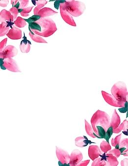 Cornice floreale rosa dell'acquerello di nozze.