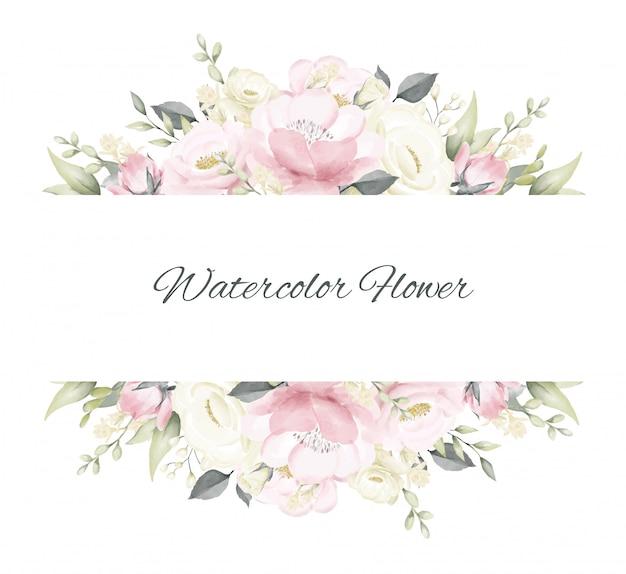 Cornice floreale rosa modello rosa e bianco dell'acquerello
