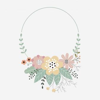 Cornice floreale vettoriale con fiori