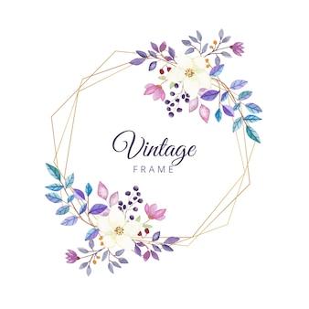 Cornice floreale vintage acquerello con bordo oro