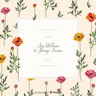 Cornice floreale vintage primavera