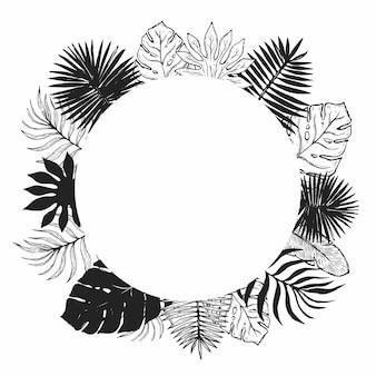 Cornice foglia di pianta tropicale.
