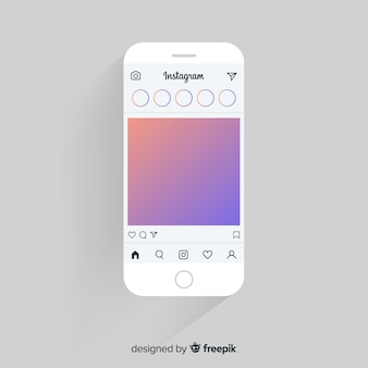 Cornice fotografica instagram realistico sul modello di iphone
