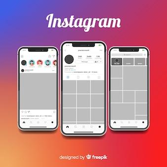 Cornice fotografica instagram realistico sulla collezione di iphone